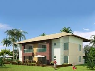 Apartamento 2 quartos reversível para 3 com 88m² de área privativa no condomínio fechado Ponta de Inhambupe, localizado em uma das melhores praias do litoral da Bahia, Praia de Baixio.