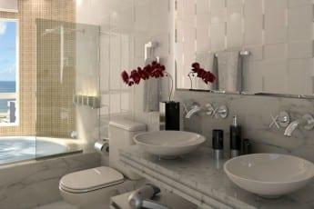 Perspectiva do banheiro suíte master do empreendimento.