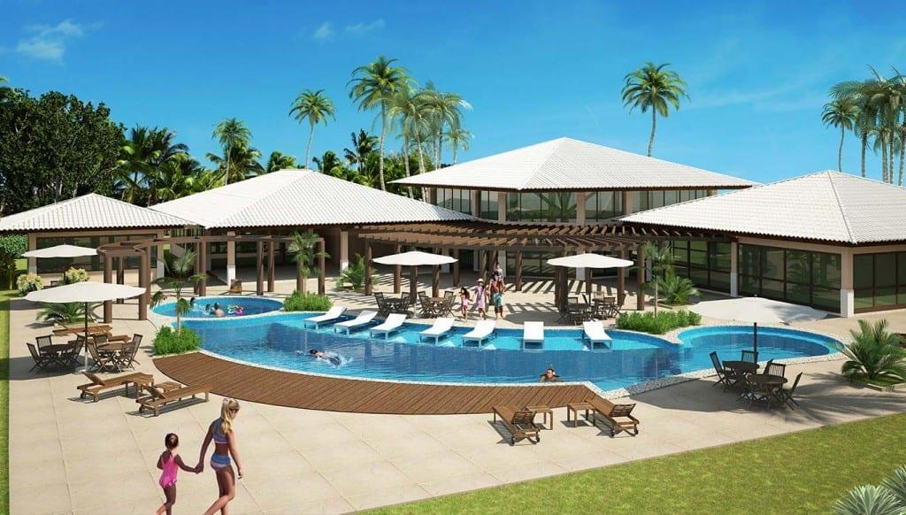 Perspectiva do clube do condomínio fechado Ponta de Inhambupe, localizado em uma das melhores praias do litoral norte da Bahia, Praia de Baixio.