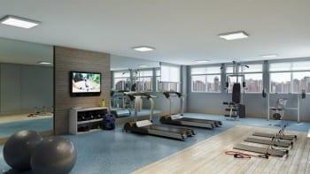 Perspectiva do espaço fitness do empreendimento.