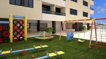 Perspectiva do parque infantil do empreendimento