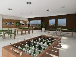 Perspectiva do salão de jogos do Mar de Itapuã.