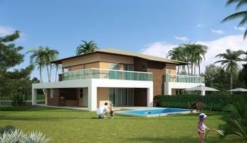 Casas de luxo à venda Town House com terraço e 272m² no condomínio fechado Ponta de Inhambupe, localizado em uma das melhores praias da Bahia, Praia de Baixio.