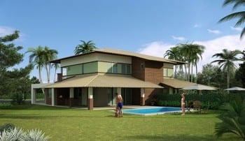 Casas de luxo à venda Town House sem terraço com 238m² no condomínio fechado Ponta de Inhambupe, localizado em uma das melhores praias do litoral da Bahia, Praia de Baixio.