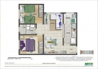 Planta 2 dormitórios - 1ª opção