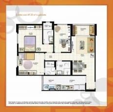 Planta Baixa - 2 quartos com 69,35m2 e gabinete do empreendimento