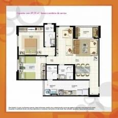 Planta Baixa - 2 quartos com 69,35m2, home e sanitário de serviço do empreendimento.