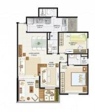 Planta baixa - 2 quartos com suíte, varanda e home theater do empreendimento.
