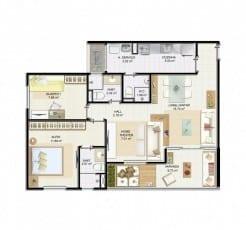 Planta baixa - 2 quartos com suíte, varanda, home theater e living ampliado Villa Florestal