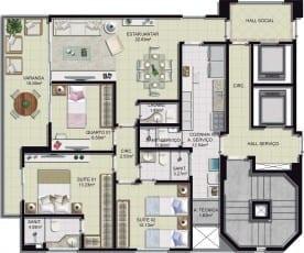 Planta baixa - 3 quartos com 2 suítes, lavabo e varandao - 97m2 Mar Azul Boulevard