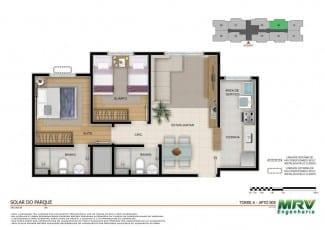 Planta baixa - Apartamento 2 quartos com suíte