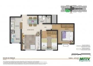 Planta baixa - Apartamento 2 quartos - opção 01