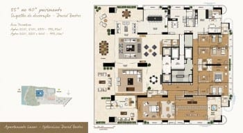 Planta baixa do imóvel de luxo - Apartamento Linear - 35º ao 40º - do empreendimento.