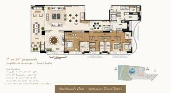 Planta baixa do imóvel de luxo - Apartamento Pleno - 1º ao 34º - do empreendimento.