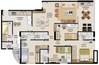 Planta baixa - Apartamento Tipo - 01 do empreendimento.