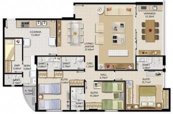 Planta baixa - Apartamento Tipo - 02 do empreendimento.