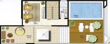 Planta baixa - Apartamento Tipo 04 - Cobertura 1001 - Pavimento Superior
