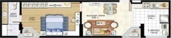 Planta baixa - Apartamento Tipo 05 - 1102 - Quarto e Sala