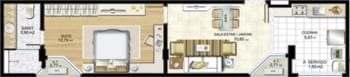 Planta baixa - Apartamento Tipo 06 - 1102 - Quarto e Sala