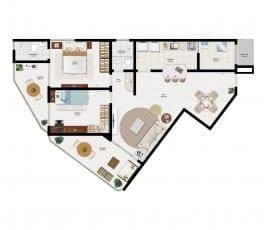 Planta Baixa - Apartamento Tipo 2 do empreendimento.