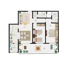 Planta Baixa - Apartamento Tipo 3 do empreendimento.