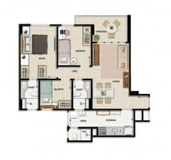 Planta baixa - Apartamento Tipo A - 3 quartos do empreendimento.