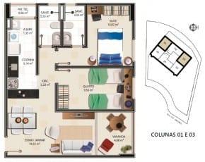 Planta Baixa - Apartamento tipo A - 61,61m2 do empreendimento.