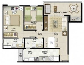 Planta baixa - Apartamento Tipo A do empreendimento