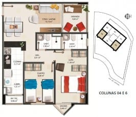 Planta Baixa - Apartamento tipo B – 62,47m² do empreendimento.
