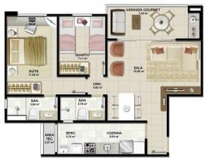 Planta baixa - Apartamento Tipo B do empreendimento