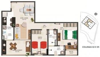 Planta Baixa - Apartamento tipo C – 67,51m² do empreendimento.