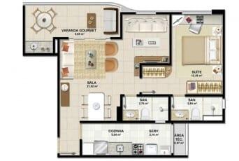Planta baixa - Apartamento Tipo C do empreendimento