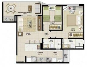 Planta baixa - Apartamento Tipo D do empreendimento.