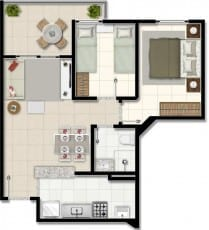 Planta baixa - Apartamentos com final 06 e 07 do empreendimento.