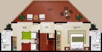 Planta baixa - Blocos A e C - Tipo Duplex Superior - Casas 07