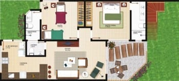 Planta baixa - Blocos A e C - Tipo Térreo - Casas 01 - 03 - 05