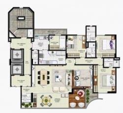 Planta Baixa com 3 suítes da Mansão Artur de Sá, além de lavabo, living ampliado, home office e varanda gourmet.