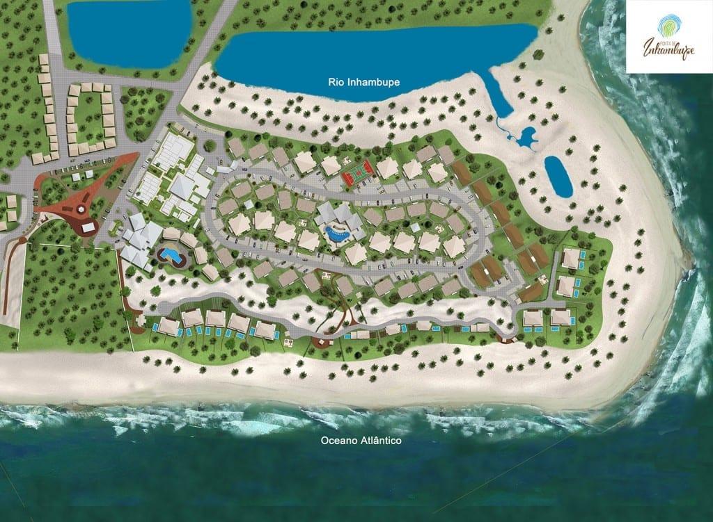 Planta baixa da implantação do condomínio fechado Ponta de Inhambupe, localizado em uma das melhores praias da Bahia, Praia de Baixio.