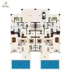 Planta baixa do pavimento térreo de duas unidades de casa de luxo à venda Town House sem terraço com 238m² do Ponta de Inhambupe, praia de Baixio, Esplanada, Bahia.