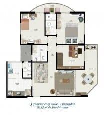 Planta baixa - Tipo 01 - 3 quartos com suíte e 2 varandas - 92,13m2 de área privativa