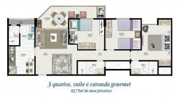 Planta baixa - Tipo 02 - 3 quartos com suíte e varanda gourmet - 83,75m2 de área privativa