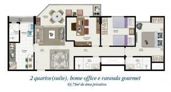 Planta baixa - Tipo 2B - 2 quartos com suíte, Home Office e varanda gourmet - 83,75m2 de área privativa
