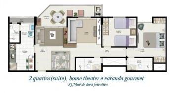 Planta baixa - Tipo 2C - 2 quartos com suíte, home theater e varanda gourmet - 83,75m2 de área privativa