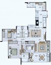 Planta Baixa do empreendimento Tipo 01 - 112,91 m²