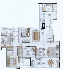 Planta Baixa do empreendimento Tipo 03 - 166,18 m²