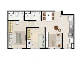Planta tipo do empreendimento - 2 quartos com suíte - 48,36 m²