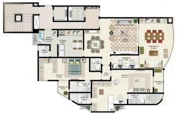 Planta tipo 3 - 2 suítes com gabinete, living ampliado e suíte master ele e ela - Área privativa de 138m2