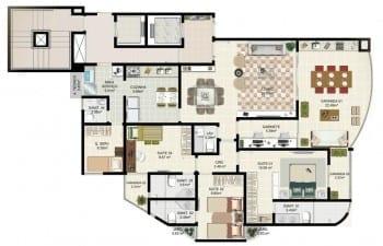 Planta tipo 4 - 3 suítes com gabinete, living ampliado - Área privativa de 138m2