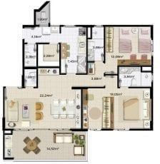2 quartos, 1 suite, 2 vagas na garagem, living ampliado