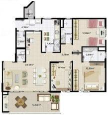 Apartamento 3 quartos com 2 suites, 2 vagas na garagem, ampla varanda